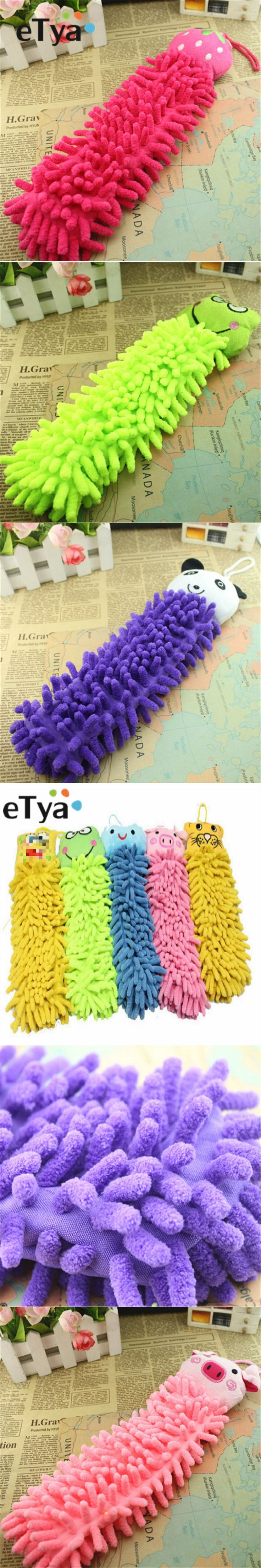ETYA 1Pcs Microfiber Cartoon Absorbent Hand Dry Towel Clearing lovely animal face Towel For Kitchen Bathroom Office Car Use