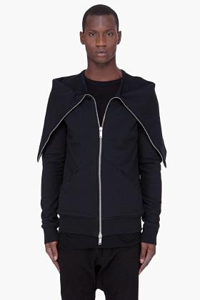 GARETH PUGH Black Tube Collar Zip Jacket