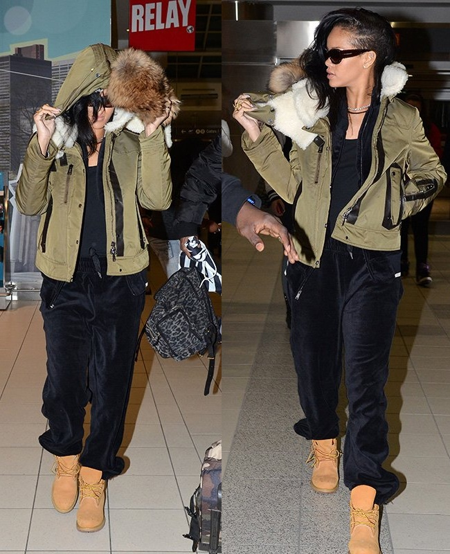 Winter Coat Swag Rihanna Keeps Warm In Hooded Fur While On 777 Tour Winter Outfits