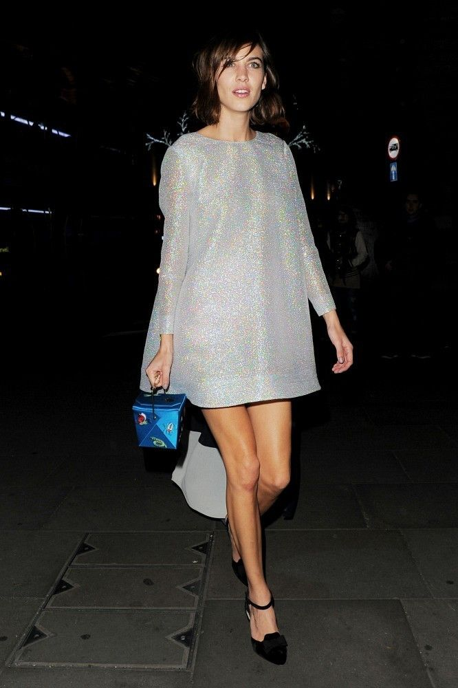 Alexa Chung in a silver minidress.