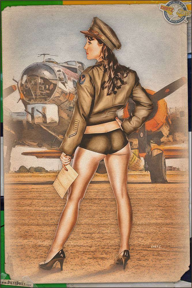 Today's airbrushed style pinup photo features Kelly in this Army Air Force theme! The stress on the unit commanders must have been nerve racking as they waited for the bombers to return from a bombing mission.  How many would come back? How many injuries or deaths would there be from Flak or enemy fighters? How many 'Dear John' letters would he have to write for the men who were lost or captured? © Dietz Dolls: http://www.dietzdolls.com || Facebook: https://www.facebook.com/MomentsCapture