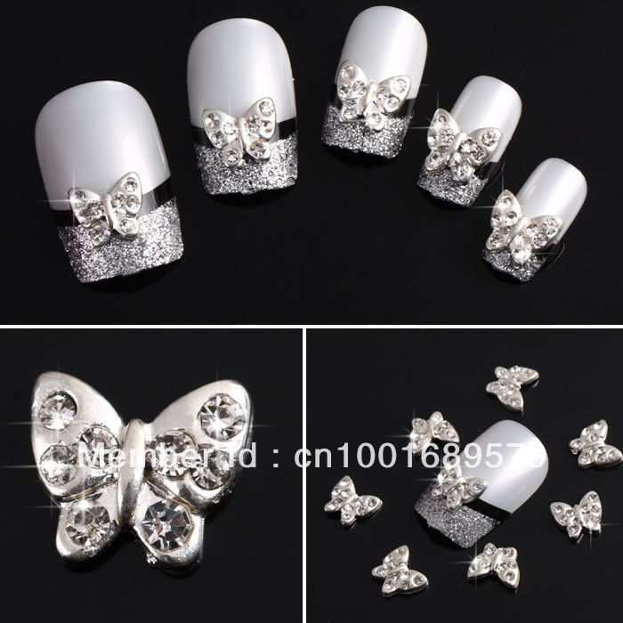 mobile site-Newest Free Shipping Wholesale/ Nails Supply, 50 pcs 3D Alloy Silver Butterfly DIY Acrylic Nails Design/ Nails Art, Unique Gifts