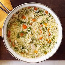 Chicken, Vegetable and Orzo Soup. To get this recipe you have to log onto the Weight Watchers site, which means, being a member.