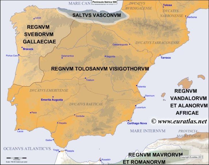 Map of the Iberian Peninsula in the year 500