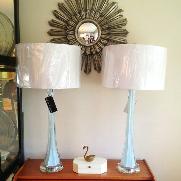 drexel heritage glass and lucite table lamps posts cas