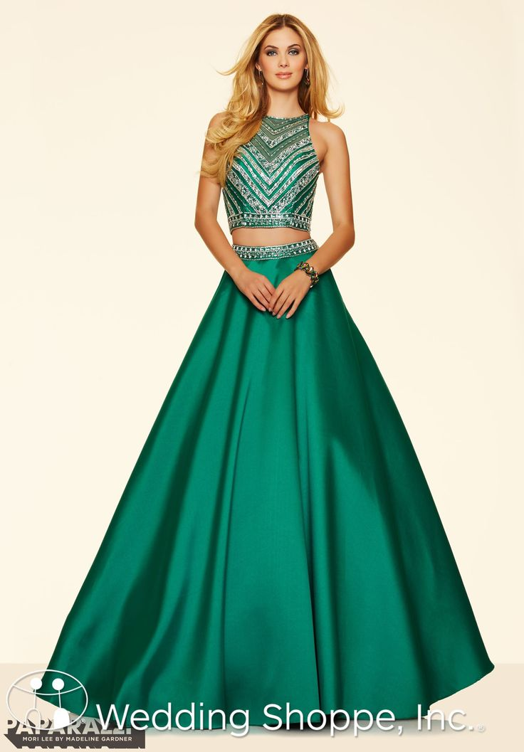A beautiful green crop top prom dress with a stunning beaded bodice | Paparazzi by Mori Lee  Prom Dress 98044