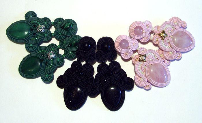 earrings with agate, malachite, aventurine and quartz