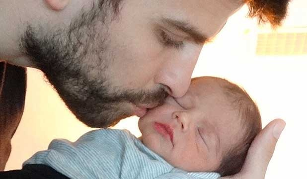 FATHER AND SON: Shakira and Gerard Piqué's first baby born baby Milan. #Shakira #Gerad #Milan #Celebritykids #Picture