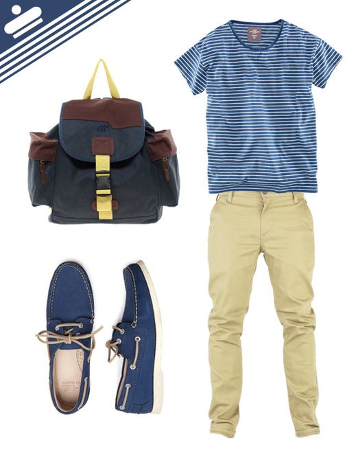 Very casual with nautical hints. Minus the bag. #Moda