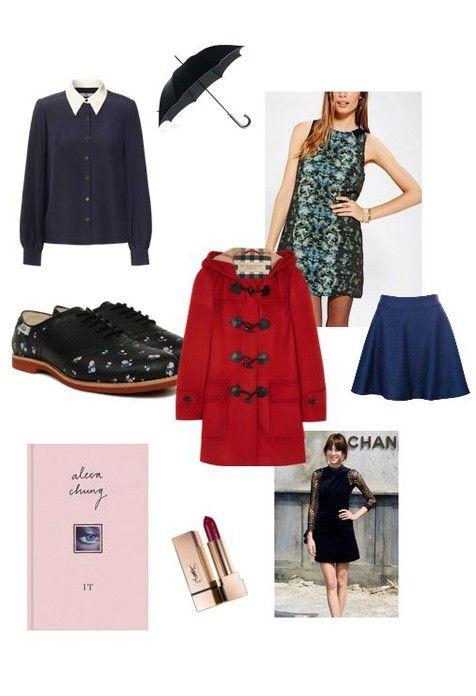 Alexa Chung: Rachel Antonoff X Bass schoenen, Orla Kiely hemd, Silence + Noise blauwgroene jurk, IT boek, Paul Smith paraplu, Burberry duffle coat, Yves Saint Laurent lippenstift, Pull & Bear rok