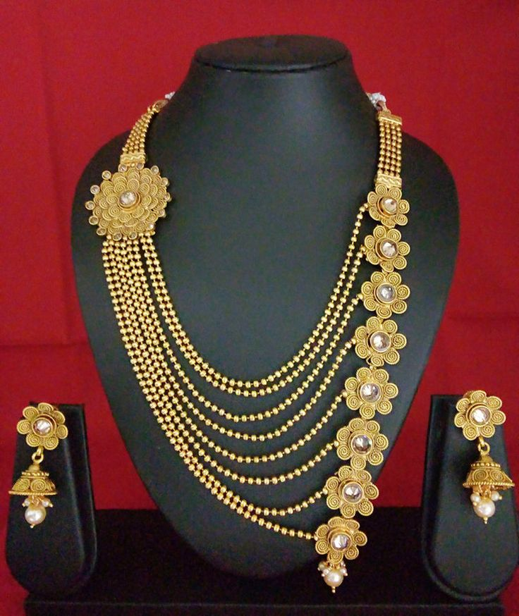 Indian Fashion Jewelry necklace rani haar bollywood ethnic gold traditional 5 #dinehptl1327
