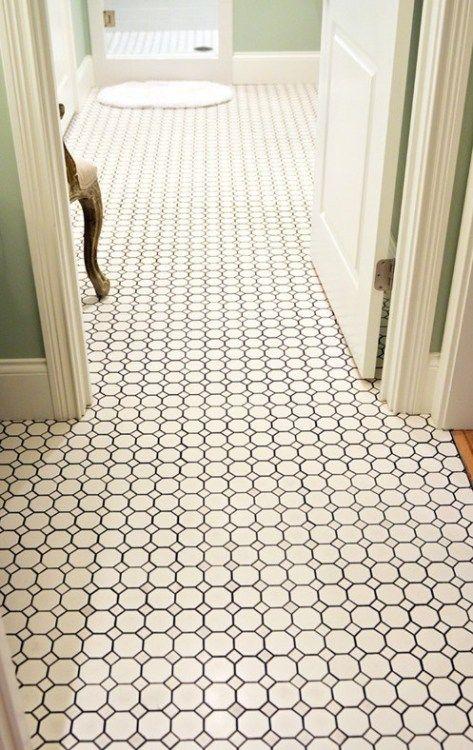 Hexagon Tile Floor In 2019 White Subway Tile Bathroom