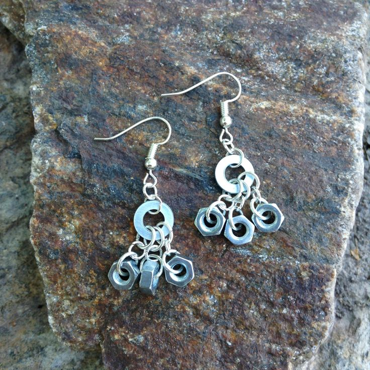 Earrings made from washer and nut - dangle earrings - washer and nut jewelry - gift for her - unique hardware earrings by leonorafi on Etsy