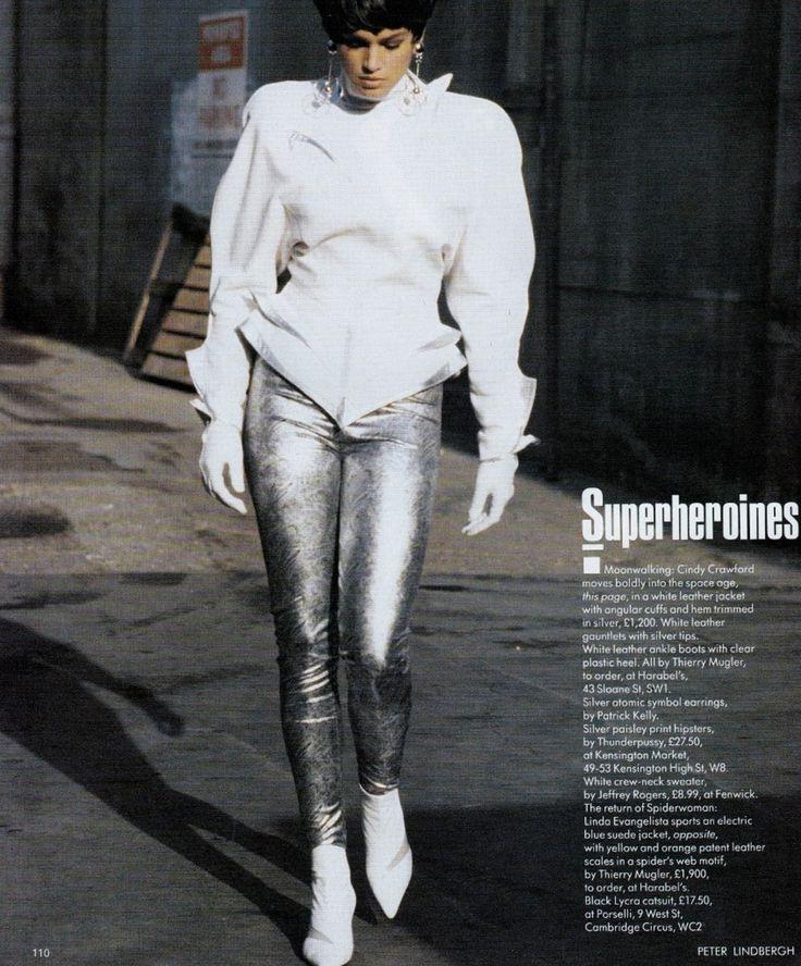 Vogue UK, Feb 1989, Peter Lindbergh, Cindy Crawford, Thierry Mugler.