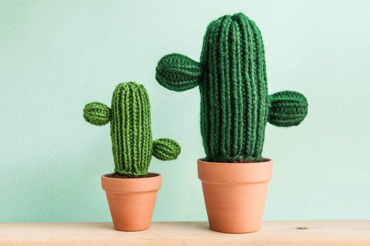 Knitted Cactus in a Pot - Classic w/ Two Arms - handmade plant, home and office decoration, adorable fake plant, Amigurumi by ThornAndNeedle on Etsy https://www.etsy.com/listing/196264772/knitted-cactus-in-a-pot-classic-w-two