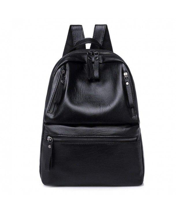 e5fa023b40 Women s Daypack- Faux Leather Backpack Simple Zipper School Travel ...