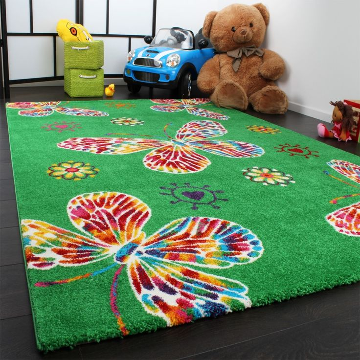 Moderner Kinder Teppich Butterfly Schmetterling Design in Grün Top Qualität Kinderteppiche