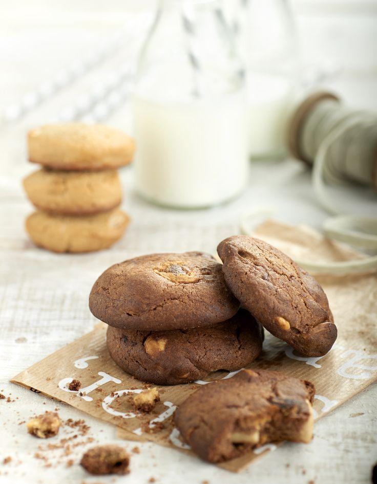 #Cookies de cacao con almendras y chocolate blanco