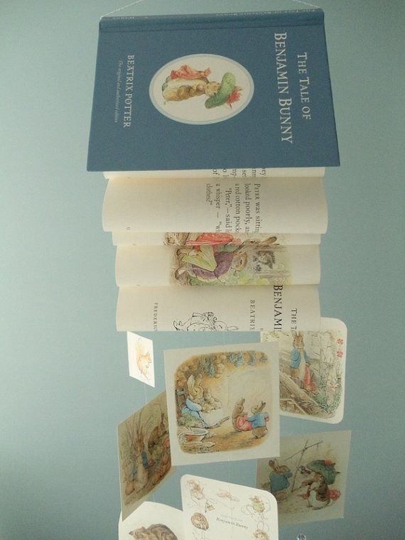 Not a fan of mobiles but i looooove this for a story book themed nursery!! Beatrix Potter Book Mobile The Tale of by SouthernPearlDesigns