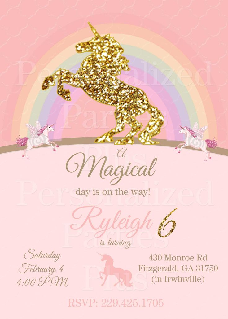 unicorn birthday invitations in pink and gold