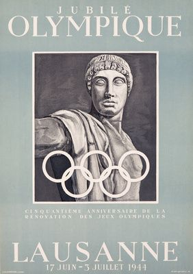 Jubile Olympique - Lausanne Vintage Poster (artist: von der Muhll) Switzerland c. 1944