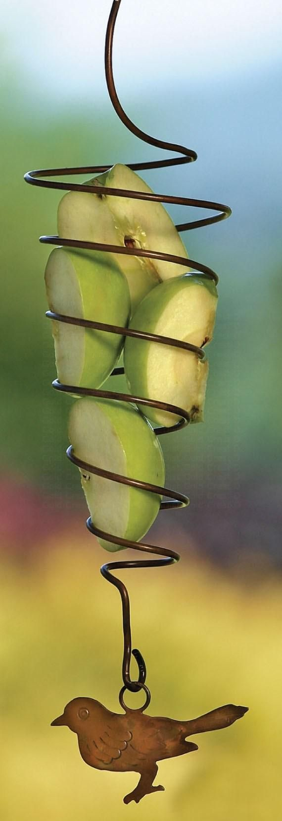 Ancient Graffiti Spiral Fruit Spear Bird, $13.50.  How cute is this fruit bird feeder!  It will attract fruit eating birds!  Great gift!  See details and more..  www.chimesin.com  Bird Feeders, Garden Decor, Garden Gifts, Gifts, Outdoor, Garden, Outdoor Gifts