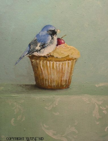"""THE UNEXPECTED GUEST' Bird cupcake painting  original art  ooak FREE usa shipping. by WitsEnd available on Etsy.  SOLD."