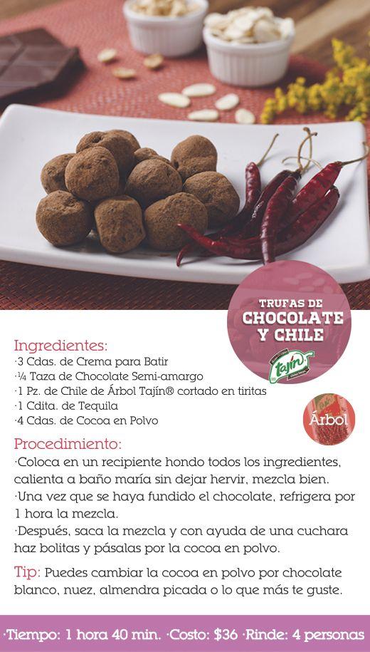 Recetas Trufas de chocolate y chile (chiles secos)
