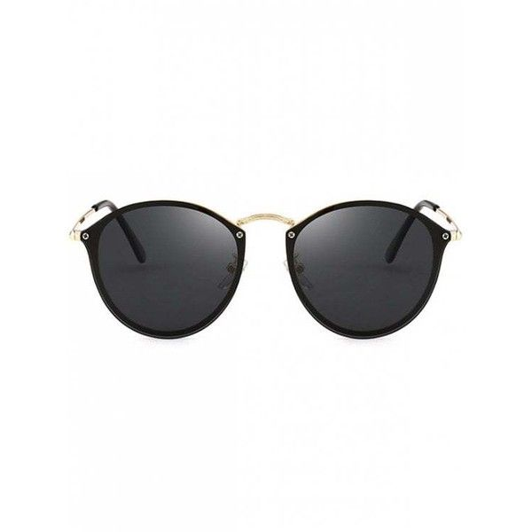 Anti UV Cat Eye Mirrored Sunglasses Black ($9.96) ❤ liked on Polyvore featuring accessories, eyewear and sunglasses