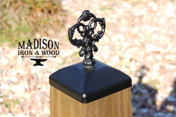 Decorative Victorian Iron Fence Post Cap For 6x6 Wood Fence Post