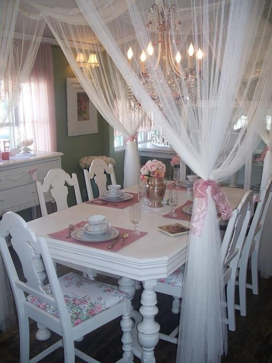 Cute White Dining Room With Sheer Curtains Canopy Crystal Chandelier Pink Shabby Cottage Romantic