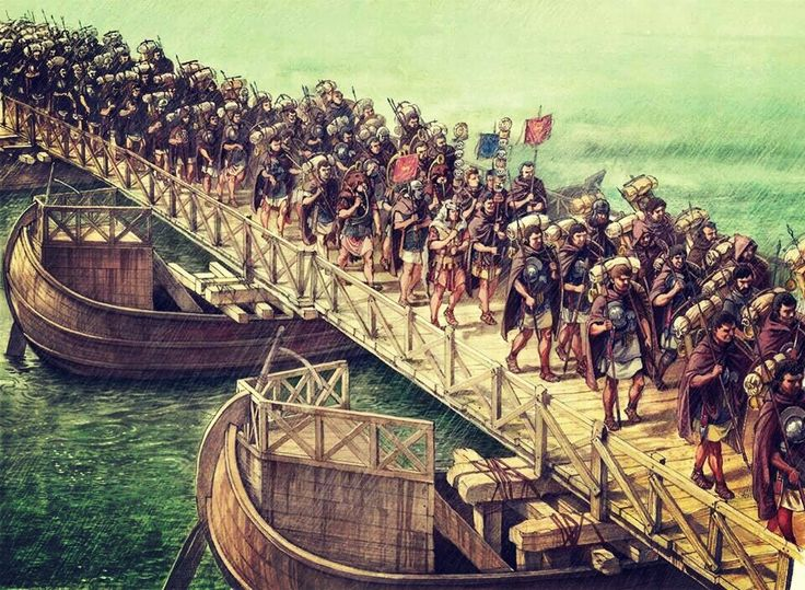 Roman Army crossing pontoon bridge.