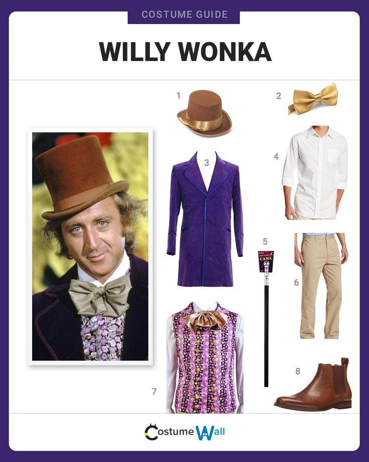 Suit up as Willy Wonka, the chocolate master and creative genius from Charlie and the Chocolate Factory.