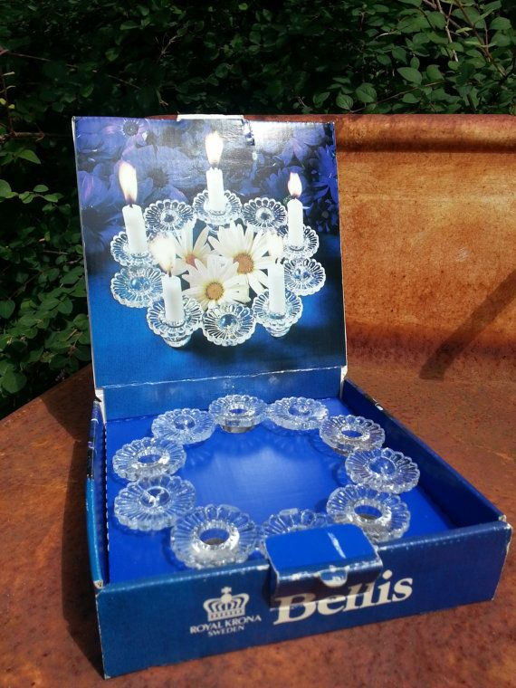 Royal Krona of Sweden Bellis clear glass candle by fcollectables, €15.00