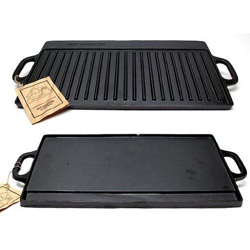 Old Mountain Cast Iron Preseasoned Two-burner Reversible Grill Griddle ** FIND OUT @ http://www.buyoutdoorgadgets.com/old-mountain-cast-iron-preseasoned-two-burner-reversible-grill-griddle/?b=4195