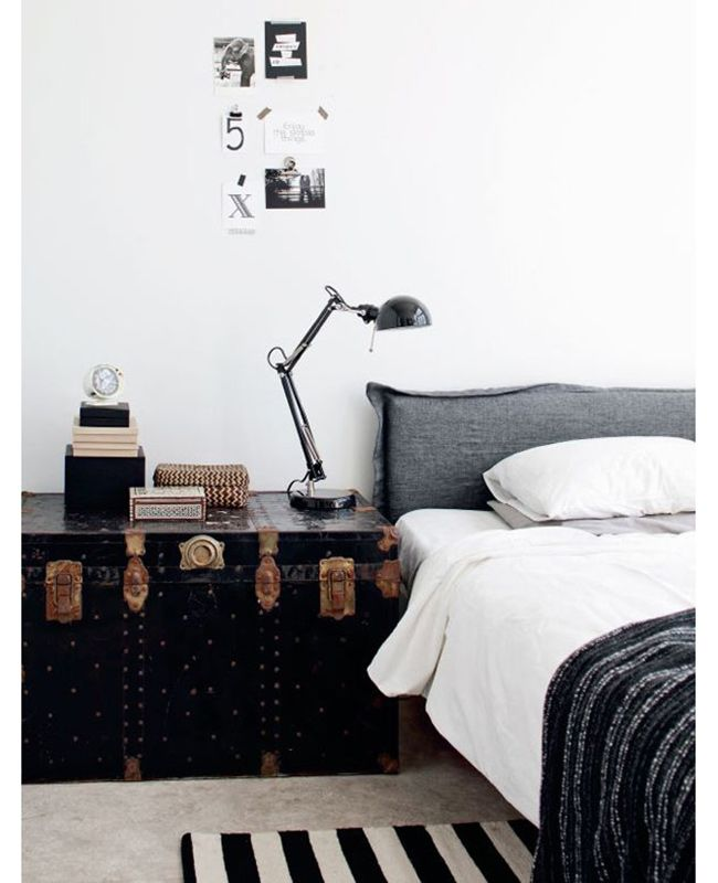 Love the trunk for bedside table, could add feet if you need height.