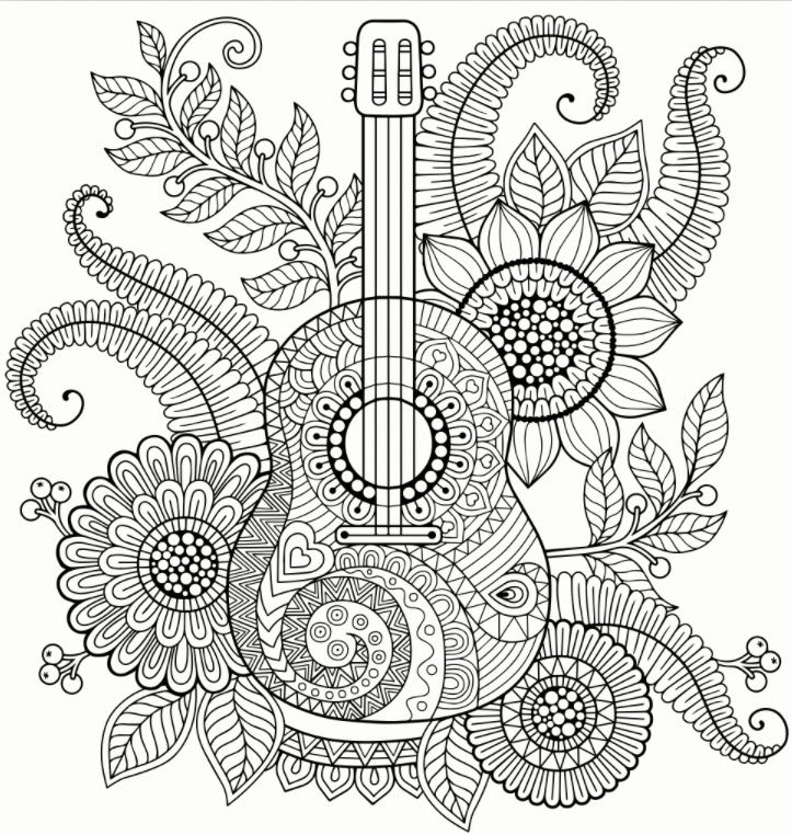 Guitar Zentangle Colouring Page Recolor App Mandala Coloring Pages Coloring Books Coloring Pages