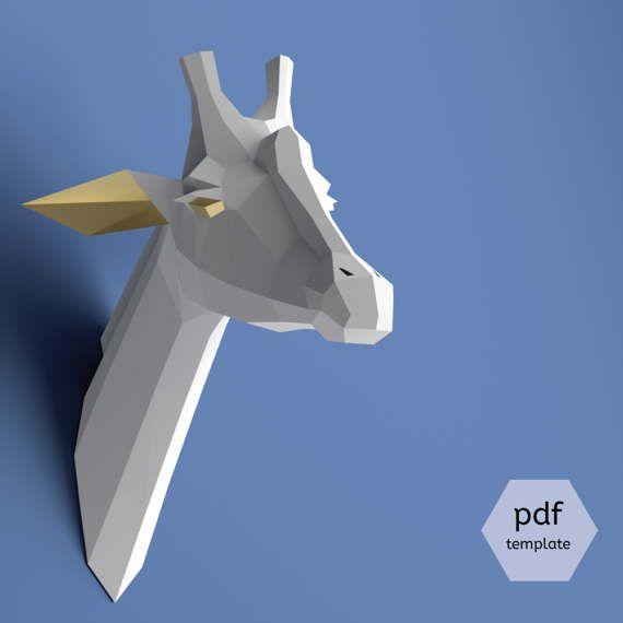 Papier Giraffe Trophäe, Giraffe Kopf, Download, Papier Handwerk Tier, Faux Präparatoren Kopf, 3D Modell Papercraft, DIY Lowpoly, DIY Papierskulptur