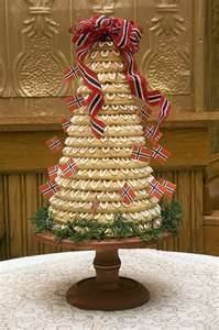 Norwegian wedding cake (Kransekake), I make this for Christmas decorating it with traditional Christmas colors.