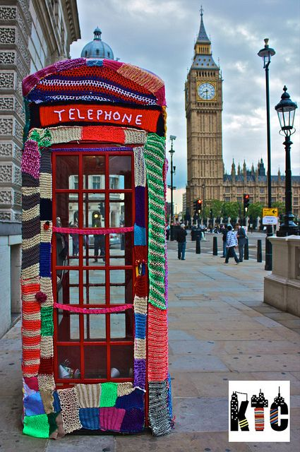 I love this telephone box yarn bombing, especially in light of this article originally printed in The Guardian in 1961: http://www.guardian.co.uk/theguardian/2012/feb/10/archive-1961-teenage-knitting