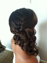 BRIDESMAID HAIR: I like the braid falling down into the curls. Its a natural looking.style but dressed up with curls. Maybe add a flower?