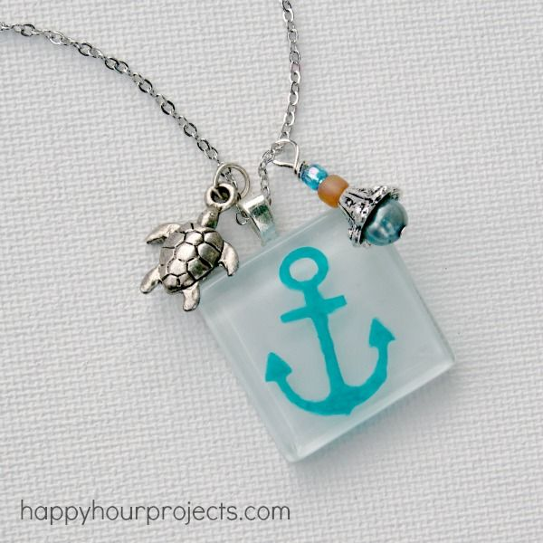 Great anchor necklace using decoart glass paints.  #bhgsummer
