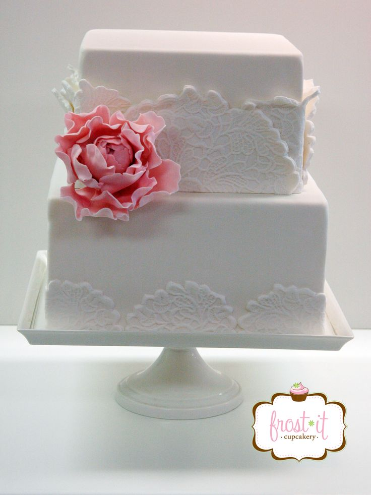 square wedding cake with fondant flowers fondant cake lace cake wedding cake sugar flower cake 20437