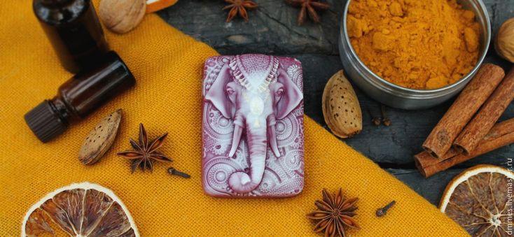 """Купить Мыло """"Индийский слон"""" - брусничный, мыло, мыло ручной работы, мыло индийский слон"""