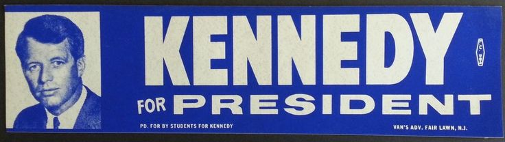 Original Vintage ROBERT KENNEDY for President Window Bumper Sticker RFK 1968