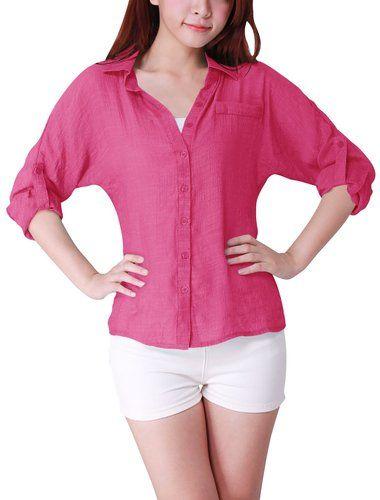 Allegra K Mujeres camiseta del gato camisa de manga Dolman Tops Fit Loose Tops Tops Verano en la tienda de ropa de las mujeres del Amazonas: Allegra K Mujeres
