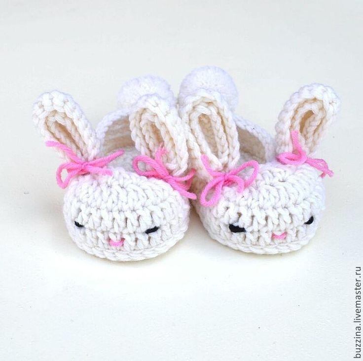 Купить Пинетки для девочки Зайчата пинетки теплые из шерсти - пинетки, пинетки вязаные, пинетки для новорожденных