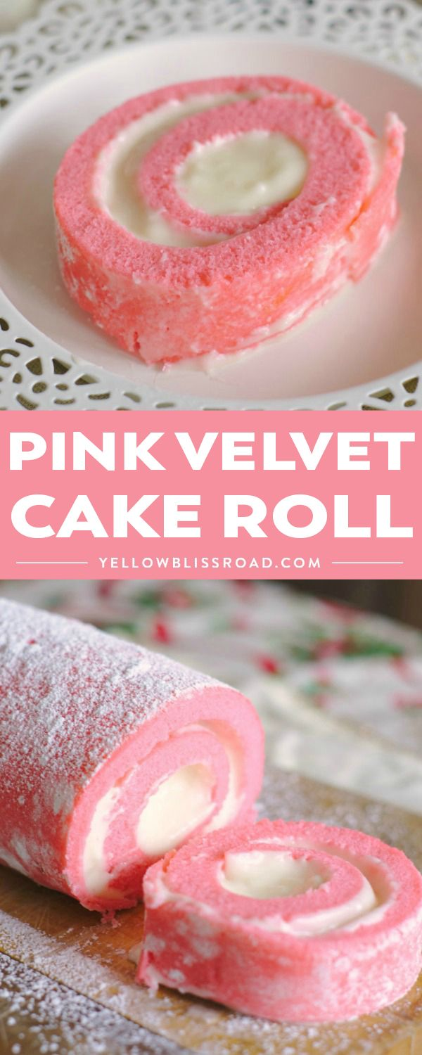 Pink Velvet Cake Roll is gorgeous dessert for Valentine's Day! Pink sponge cake filled with a light cream cheese frosting is an elegant and delicious dessert you'll swoon for! via @yellowblissroad
