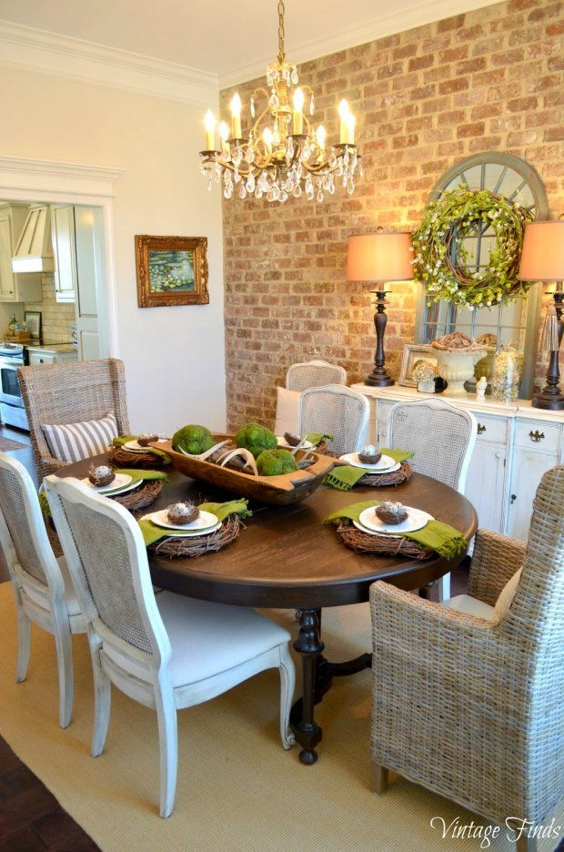 Decorate a Dining Room for Spring Mirror and lamps on buffet table...LOVE THE DIFFERENT chairs