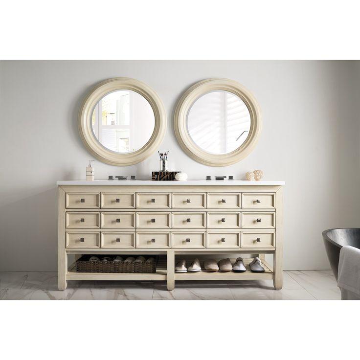 James Martin Furniture Victoria 69-inch Snow White Quartz Top Vanilla Double Vanity